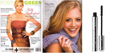 100% Pure natūralus tušas 'Positive Green' žurnale.