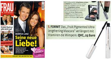 100% Pure Natūralus tušas su vaisių pigmentais 'Frau' žurnale Vokietija