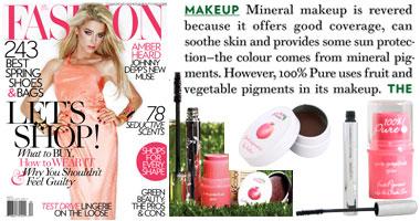 100% Pure Organinis granatų sviestas lūpoms, 100% Pure natūralus tušas ir 100% Pure skaistalai su vaisių pigmentais 'FASHION' žurnale