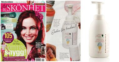 100% Pure Organinės braškinių ledų kvapo prausimosi putos ir šampūnas 'Skonhet' žurnale