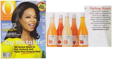 100% Pure drėkinantys kuno prausikliai/putos 'O The Oprah magazine' žurnale