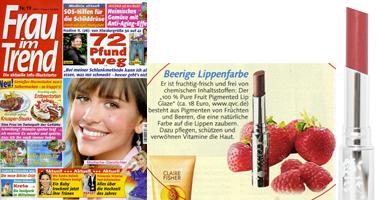 100% Pure Lūpų dažai su vaisių pigmentais 'Frau im Trend' žurnale Vokietija