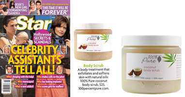 100% Pure Organinis maitinantis kokosų kūno šveitiklis 'Star' žurnale