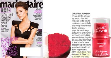 100% Pure Skaistalai su vaisių pigmentais 'marie claire' žurnale